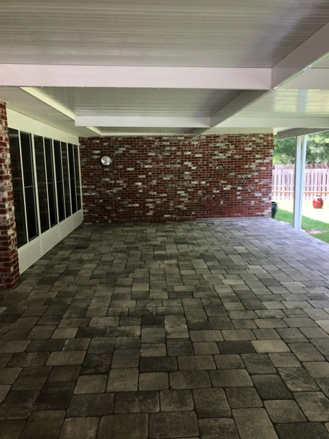 Patio Pavers Installation And Aluminum Awning Installation